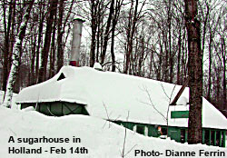 Maple Syrup Sugar House in Holland, Vermont sits buried in snow following Valentine's Day storm