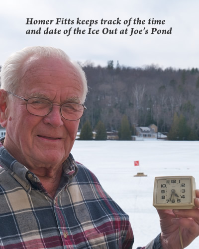 homer fitts keeps track of the ice out at Joe's Pond