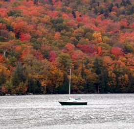 Sailboat moored on Lake Willoughby