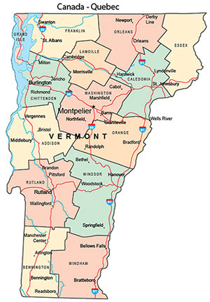 Map of Vermont Counties shows location of orchards
