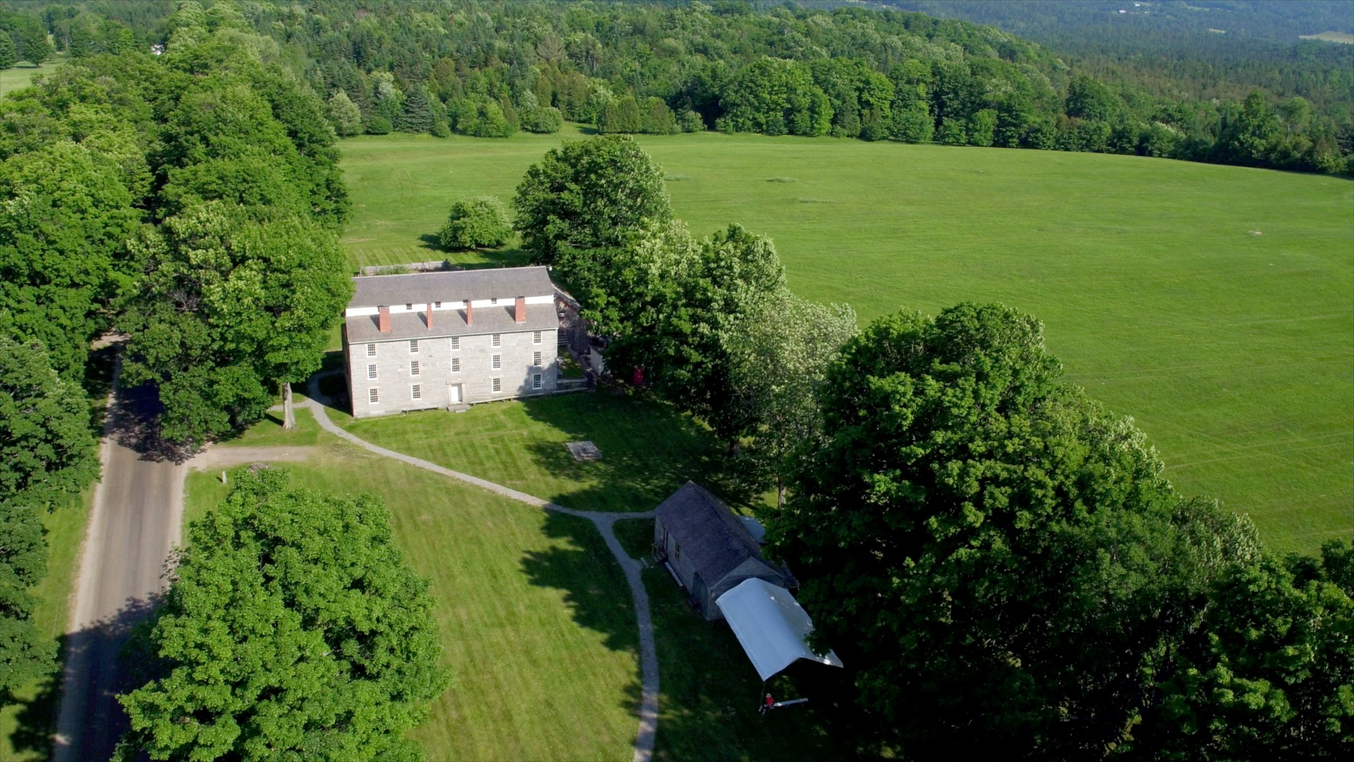Old Stone House, Brownington aerial video